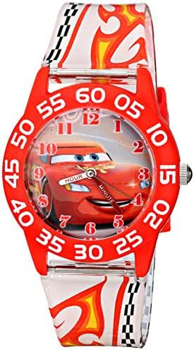 Disney Kids' W001681 Cars Lightning McQueen Plastic Watch, Printed Band
